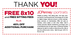 jcpenney portraits free 8x10 no sitting fees southern savers
