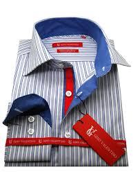 mens striped dress shirt cotton spread collar barrel cuff
