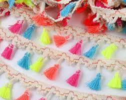 cotton tassel trim etsy