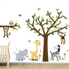 decoration ideas fascinating image of decorative pink animal fetching home interior wall decor with jungle tree wall decals exquisite unisex baby nursery room