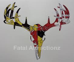 Maryland Flag Vinyl Maryland Flag Deer Skull S4 Vinyl Sticker Decal Hunting Buck