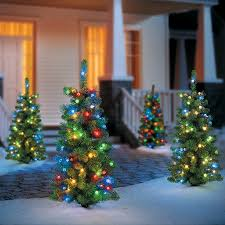 set of 2 pre lit entryway trees