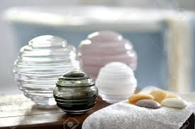 Glass Bathroom Storage Jars Decorative Glass Storage Jars In A Bathroom Stock Photo