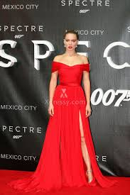 lea seydoux elegant yet off the shoulder red formal dress
