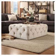 place button tufted cocktail ottoman beige inspire q target