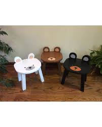 kids animal table and chairs huge deal on black bear chair stools hand painted wooden