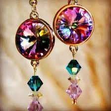 spacer earrings crafted swarovski vitriol light 14mm rivoli s
