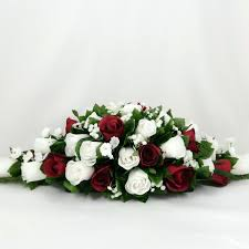 top table decorations burgundy white wedding decoration