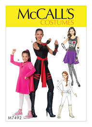 sewing pattern ninja costume m7492 misses girls skeleton hero ninja or fighter costumes