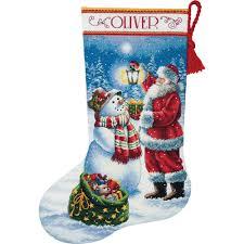 holiday glow counted cross stitch christmas stocking kit