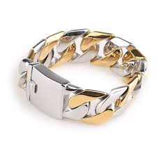 bracelet designs men images Klbs012 new design bicolor gold colour surgical titanium steel jpg