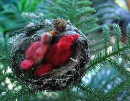 bird u0027s nest clip christmas ornament featuring needle felted wool