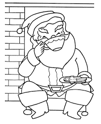santa eating gingerbread and drinking chocoa christmas coloring