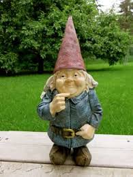 gnome with arms crossed smiling trouble maker resin lawn ornament