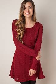 maroon sweater dress crew neck sleeve knitted sweater dress sweater dresses for
