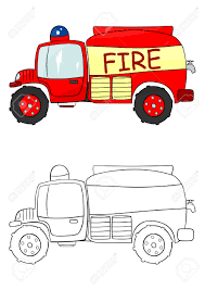 fire truck coloring illustration royalty free cliparts