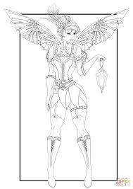 steampunk tinkerbell coloring page free printable coloring pages