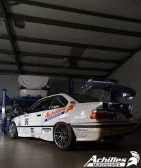 bmw race cars white bmw e36 race car at achilles motorsports for service