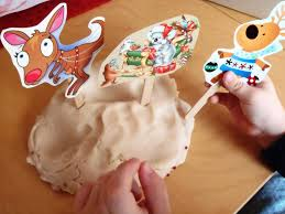 a little learning for two recycled christmas card puppets