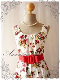 Summer Garden Dresses - blooming exotic floral dress white dress with red floral summer