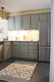 kitchen lighted grey kitchen cabinets with white tiles backsplash