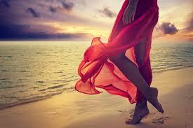 sunset alone wallpapers nature summer sea sunset red dress beach legs women soles