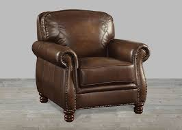 Leather Armchair With Ottoman Brown Leather Ottoman With Nailheads