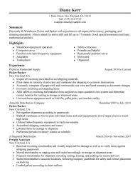 warehouse resume objective examples 18 amazing production resume examples livecareer picker and packer resume sample
