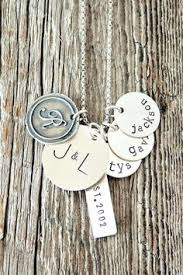 Mothers Necklace With Initials Personlized Kids Names Stacking Disc Necklace For Mom 4 Discs