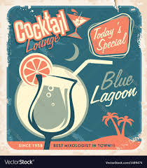 retro martini drawing promotional retro poster design for cocktail bar vector image