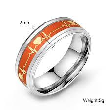 rings jewelry love images Dark luminous ecg heartbeat glowing stainless steel ring jewelry jpg
