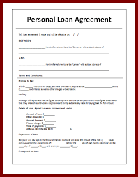 editable personal loan agreement template sample for your