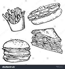 fast food hand drawn stock vector stock vector 566155426