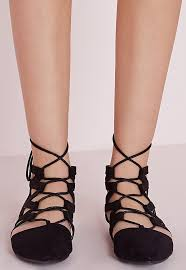 Flatshoes Strappy Lace Up Flat Shoes Black Missguided