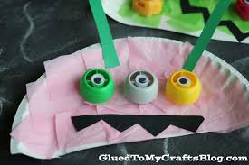 paper plate recycled lid monster kid craft glued to my crafts