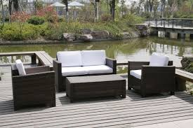 Garden Patio Table Furniture Simple Garden Furniture With Brown Rattan Seating