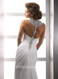 summer wedding dresses sheath straps beaded crystals chiffon summer wedding dresses