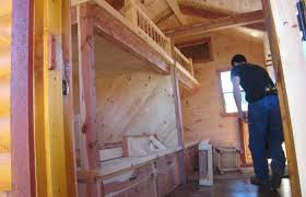 trophy amish cabins llc 12 x 32 xtreme lodge 648 s f sugar trophy amish cabins llc x bunkhouse cabinshown in the built interior