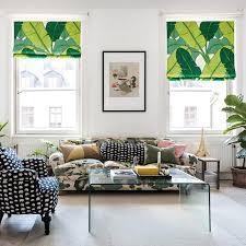 Cotton Roller Blinds Banana Leaf Pattern Print Linen Cotton Roman Blinds