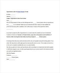 teacher appointment letters