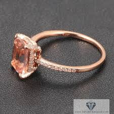 gold and morganite ring cushion cut morganite engagement ring gold diamond pave