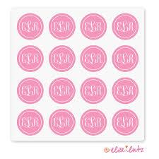 monogram stickers printable monogram stickers or seals pink