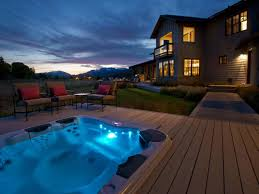 awesome deck with led lights and tub amazing outdoor tub