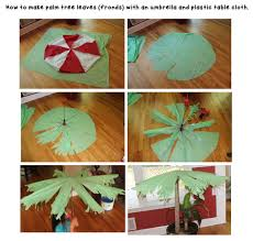 how to make palm tree leaves or fronds using an umbrella and a