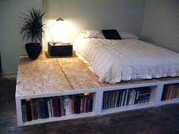California King Platform Bed With Drawers Bookcase Solana Platform Bed With Bookcase Headboard California