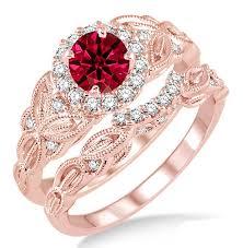 gold bridal sets 1 25 carat ruby diamond vintage floral bridal set engagement