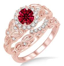 bridal gold rings 1 25 carat ruby diamond vintage floral bridal set engagement