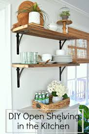 diy kitchen shelves diy barn wood shelves in the kitchen for under 50