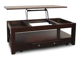 polished square mahogany coffee table with shelves and drawer plus