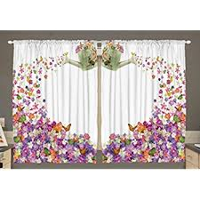 Pink Flower Curtains Amazon Com Ambesonne Kitchen Decor Collection Floral Watercolor